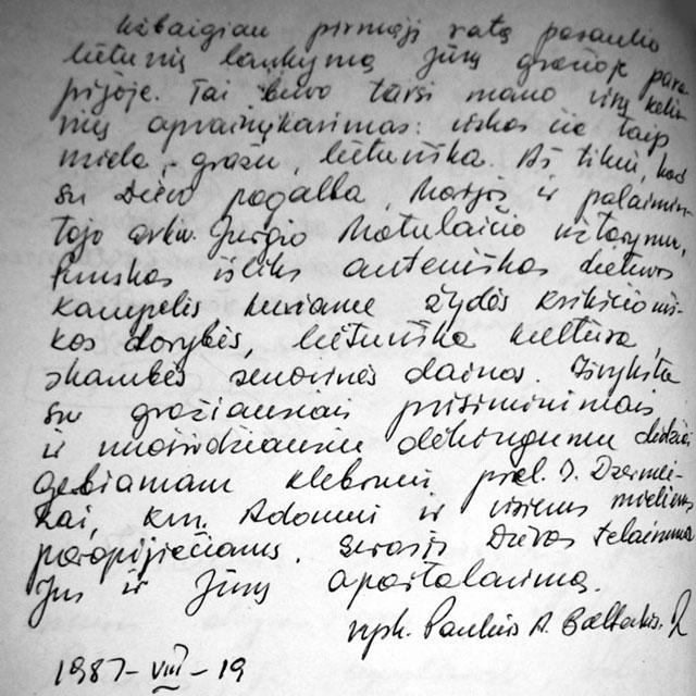 J.E. vysk. Pauliaus Baltakio įrašas Punsko parapijos svečių knygoje