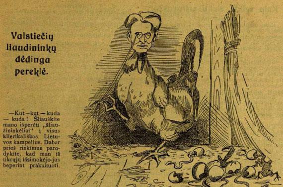 """Kazį Grinių pašiepianti karikatūra """"Tėvynės sarge"""" 1926 m.  epaveldas.lt nuotr."""