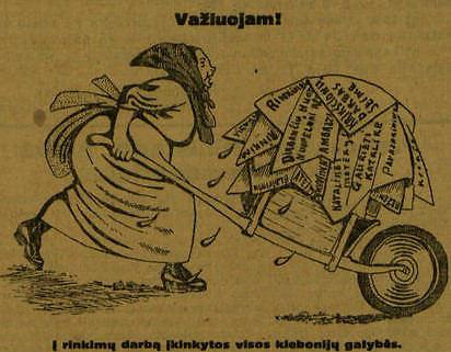 """Krikščionis demokratus pašiepianti karykatura """"Lietuvos žiniose"""" 1926 m. epaveldas.lt nuotr."""